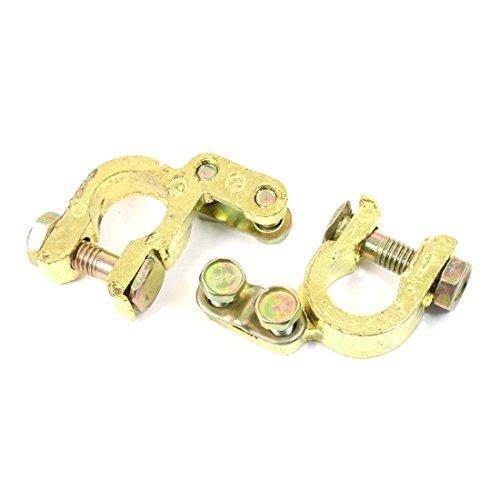 Coche del oro del tono Ajustable de latn Clips Para Los terminales de la batera Abrazaderas 2 PCS