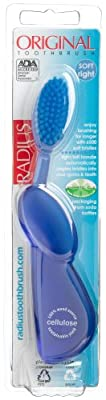 Radius Original Right Hand Toothbrush, Soft Bristles, (Adult), Colors May Vary (Pack of 2)