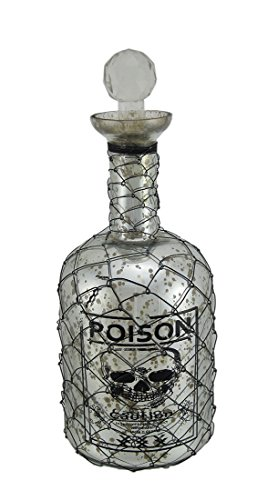 Glass Decorative Bottles Wire Mesh Covered Silver Mercury Glass Skull Poison Bottle 12 Inch 4.5 X 12 X 4.5 Inches Silver Model # 2019