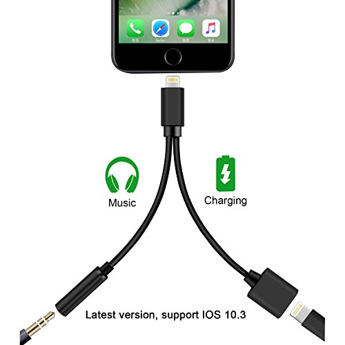 DOESIT 2 in 1 Lightning Headphone Jack Adapter for iphone 7,3.5mm Audio Adapter,Supports IOS 10.3