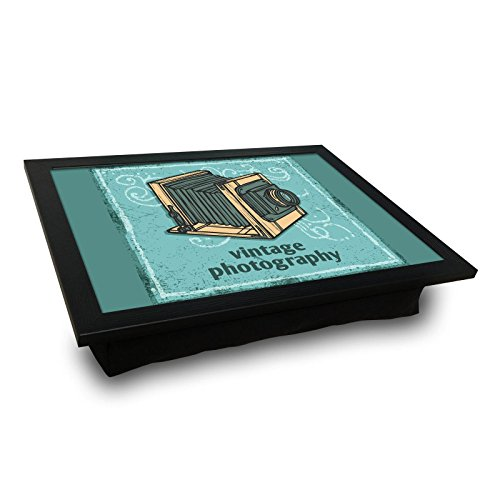 Price comparison product image Old Days MDF Pillow Tray, Vintage Photography, Turquoise, Say Cheese, Studio - Pillow Cushioned Accessories, Portable Bed Stand for Notebook or Serving, Suitable for Use on Table, Sofa, Chair