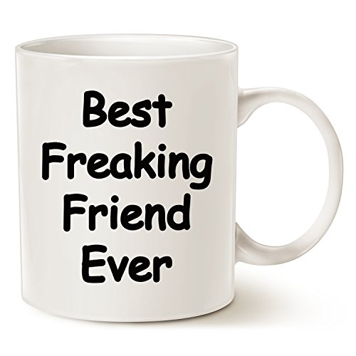 Christmas Gifts For Friend - Best Friend Coffee Mug - Best Freaking Friend Ever - Best Christmas Gifts for Friend Ceramic Cup White, 11 Oz by LaTazas