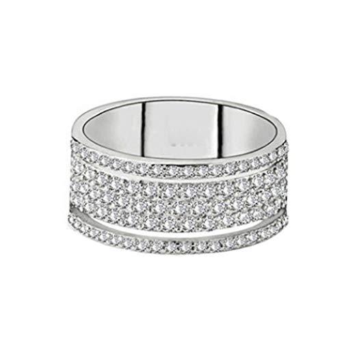 USStore Fashion Womens Creative Oval Wheel Full Diamond Ring Elegant Engagement Pleated Wedding Bridal Rings Jewelry Gift (10, R)