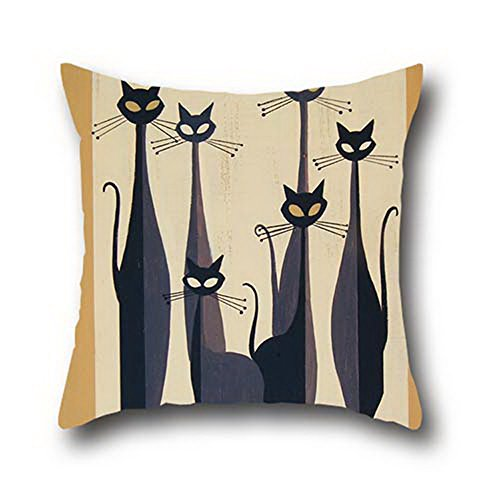 Goling Bbay Black Cat Art Painting 100% Cotton Square Zipper