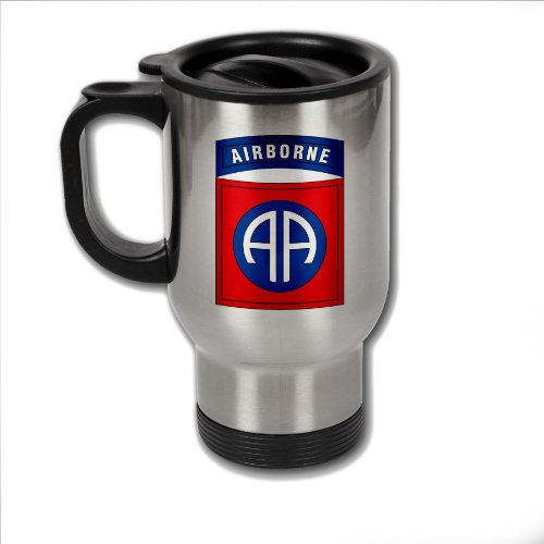Stainless Steel Coffee Mug with U.S. Army 82nd Airborne Division insignia