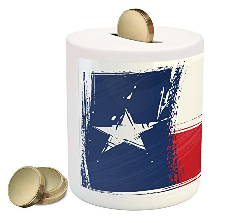 Ambesonne Texas Star Coin Box Bank By  Grunge Flag With Watercolor Brush Strokes Independent Country  Printed Ceramic Coin Bank Money Box For Cash Saving  Vermilion White Dark Blue