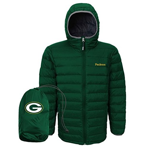 NFL Green Bay Packers Boys (8-20) Solid Packaway Puffer Jacket, Medium, Hunter