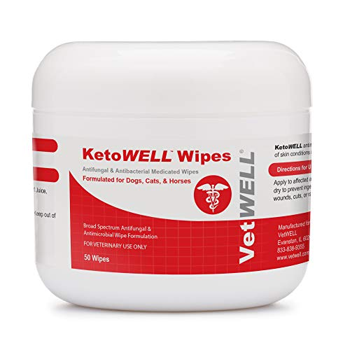 KetoWELL Chlorhexidine Wipes with Ketoconazole for Dogs & Cats Antifungal, Antibacterial & Antiseptic Medicated Pet Wipes for Hot Spots, Ringworm, Yeast, Fungal Infections, Acne & Pyoderma - 50 Count by VetWELL