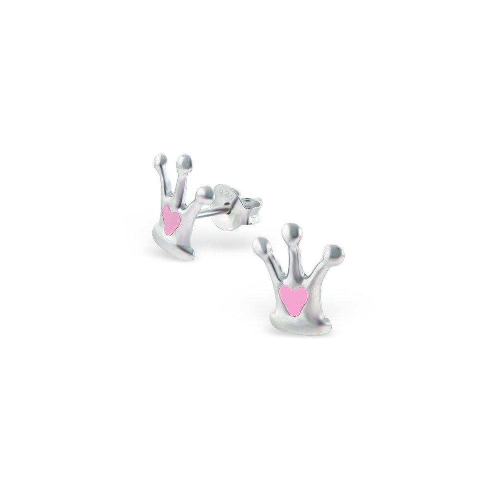 Girls Crown Colorful Ear Studs 925 Sterling Silver