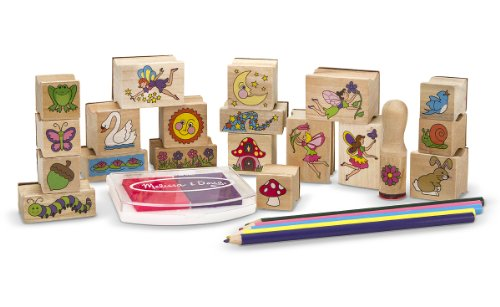 418rAwX0G5L - Melissa & Doug Stamp-a-Scene Stamp Pad: Fairy Garden - 20 Wooden Stamps, 5 Colored Pencils, and 2-Color Stamp Pad