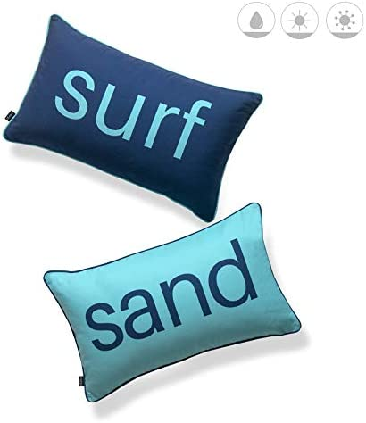 Hofdeco Beach Nautical Indoor Outdoor Lumbar Pillow Cover ONLY, Water UV Resistant for Patio Lounge Sofa, Aqua Navy Surf Sand Word, 12 x20 , Set of 2