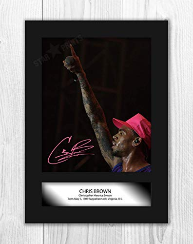 Engravia Digital Chris Brown (2) Poster Signed Autograph Reproduction Photo A4 Print(Unframed)