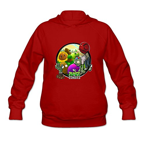 Plants Vs Zombie Icon Classic 100% Cotton Red Long Sleeve Hoodie For Women Size XL (Plants Vs Zombies Kind)