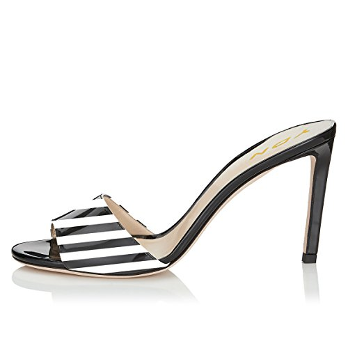 Mules Heel Dress Shoes Sandals Clog Stripe Toe YDN Kitten Comfy Low Pumps Women on 10cm Open Slip Slide Black gwwqX7I