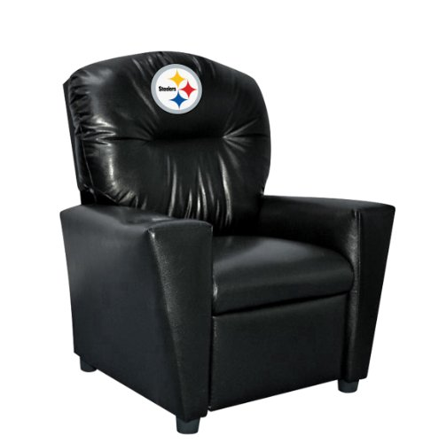 Embroidered Kids Recliner - Imperial Officially Licensed NFL Furniture: Youth Faux Leather Recliner, Pittsburgh Steelers