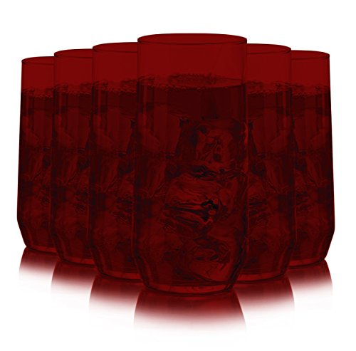 Libbey Diamond Swirl 6 -Piece Glassware Set Full Red Color Additional Vibrant Colors Available by TableTop -