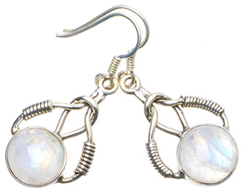 """Natural Rainbow Moonstone Handmade Unique 925 Sterling Silver Earrings 1.5"""" X4923"""