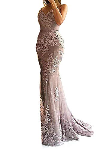 - Women's Mermaid Prom Dress 2019 Purple Trumpet Evening Gowns Lace Prom Dress with Sweetheart Straps