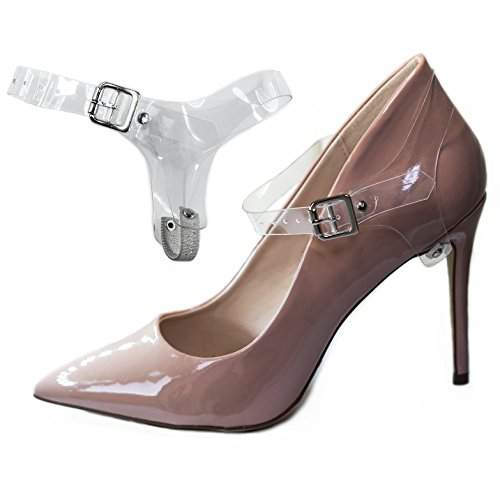 Ankle Strap Pump Shoes (Detachable Shoe Straps - To Hold Loose Heels, Wedges, Flats (Transparent))