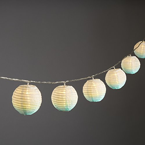 Mini Lantern Nylon LED String Lights, Indoor/Outdoor, Teal Ombre Effect, 15 Feet, 10 Lanterns, Connectable, Water Resistant, Indoor/Outdoor Use, Expandable to 100 LEDs - ETL Listed Plug (String Led 15' Light)
