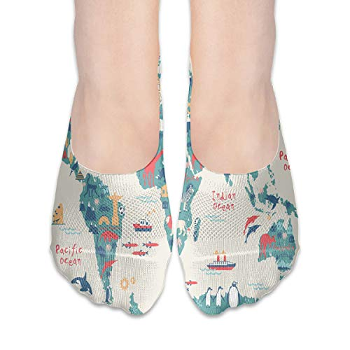 No Show Socks Explorer-Kids-World-map Marvellous Womens Low Cut Sock Casual Invisible Socks for Girl ()