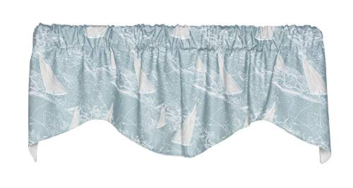 In-Stitches Sail Away Lined Shaped Valance Curtain (Spa, 53