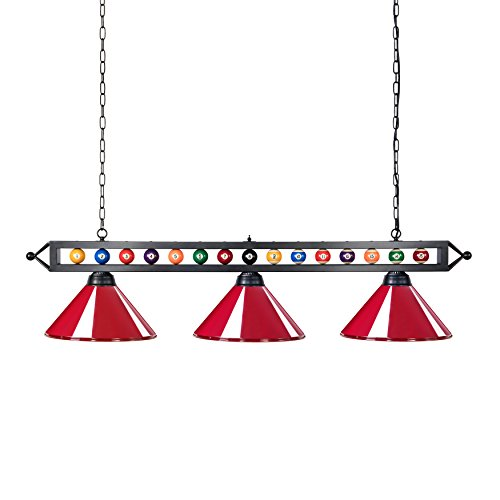 Chende 59'' Hanging Pool Table Light Fixture for Game Room Beer Party, Ball Design Metal Billiards Light with 3 Lamp Shades, Suitable for 7' or 8' Tables (Red)