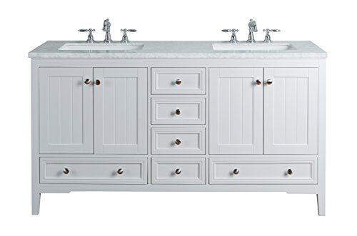 Stufurhome HD-1616W-60-CR New Yorker 60 Inches White Double Sink Bathroom Vanity