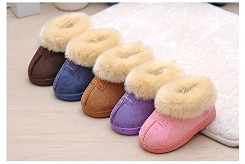 ALUK-Version coréenne de pantoufles en coton suédé pantoufles d'intérieur pour enfants en hiver