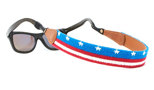 Needlepoint Sunglass Strap Sunglass Retainer by Huck Venture (USA Flag Banner) -