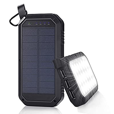 Solar Charger 8000mAh, BESWILL 3 USB Ports and 21 LED light Portable Solar External Battery Power Bank Phone Charger for iPhone, iPad, Samsung, Android and other Smart Devices from BESWILL