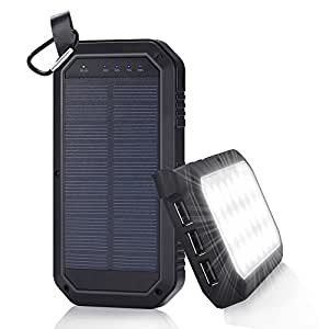 Solar Charger 8000mAh, BESWILL 3 USB Ports and 21 LED light Portable Solar External Battery Power Bank Phone Charger for iPhone, iPad, Samsung, Android and other Smart Devices