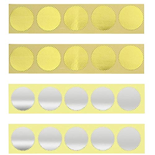 200pcs Embossed Foil Blank Certificate Self-Adhesive Sealing Stickers,Foil Sticker,Perfect for Invitations, Certification, Graduation, Notary Seals, Corporate Seals(Gold and Silver)