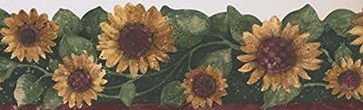 Sunflower Floral Wallpaper Border Flowers for Kitchen Bathroom Living Room, Roll 15' x 5.75''