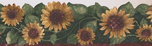 - Sunflower Floral Wallpaper Border Flowers for Kitchen Bathroom Living Room, Roll 15' x 5.75''
