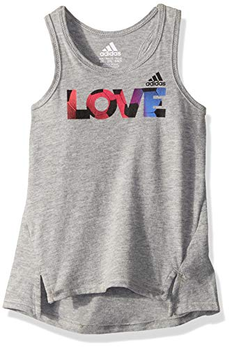 adidas Girls' Little Active Tank Tops, Shaped Gry Heather, 6 ()