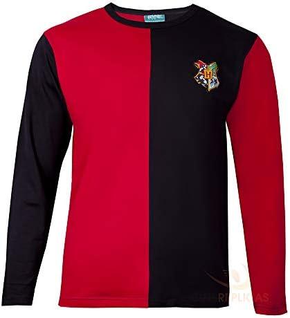 Cinereplicas - Harry Potter - T-Shirt - Estilo Torneo de los Tres Magos y Quidditch - T-Shirt Harry Potter - Licencia Oficial - S - Rojo y Negro