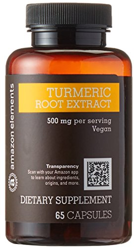 Amazon Brand - Amazon Elements Turmeric Root Extract 500 mg, 65 Capsules, 2 month supply