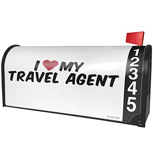 NEONBLOND I heart love my Travel Agent Magnetic Mailbox Cover Custom Numbers by NEONBLOND