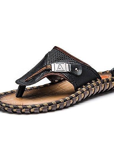 ShangYi Herren Sandaletten Herrenschuhe - Lässig - Sandalen - Leder - Schwarz / Braun Black