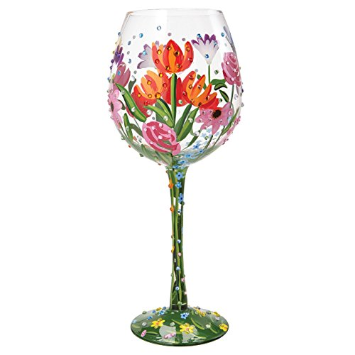 "Designs by Lolita ""Spring Bling"" Hand-painted Artisan Super Bling Wine Glass, 22 oz."