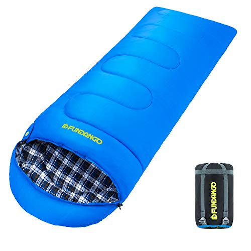 FUNDANGO Lightweight Compact Cotton Flannel Sleeping Bags for Adults, Warm Cool Cold Weather, Great for Outdoor Camping Backpacking Hiking, Waterproof, Compression Sack Included