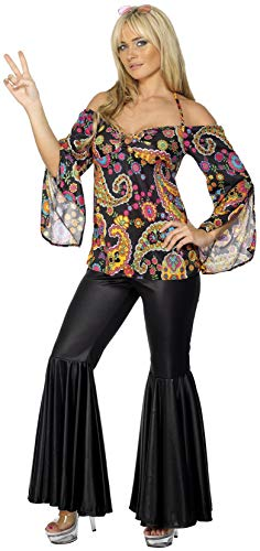 Smiffys Women's Hippie Costume, Patterned Top and Flared pants, 60's Groovy Baby, Serious Fun, Plus Size 18-20, -