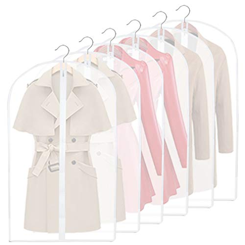 Wind Garments - FABISON Gown Garment Bag, Anti-Moist,Bacteria, (6-Piece) PEVA Material Translucent Clothing Bag,44X24-inch Windbreaker, Dress, Jacket, Pants, etc.