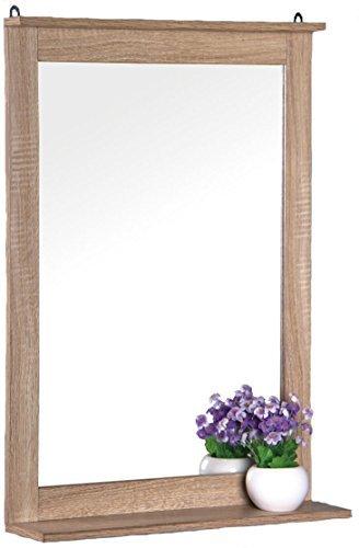 Eleganter Wandspiegel Eicheoptik 70x50 cm mit Ablage
