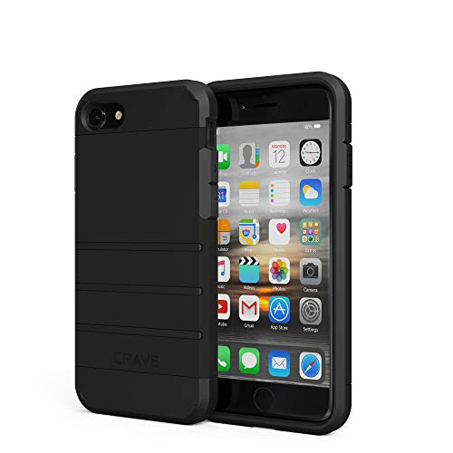 iPhone 8 Case, iPhone 7 Case, Crave Strong Guard Protection Case for Apple iPhone 8 / 7 (4.7 Inch) - Black iPhone 8 Case