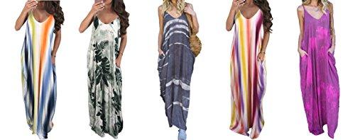 Bodycon4U Womens Spaghetti Strap Maxi Dress V Neck Tie Dye Loose Beach Oversized Beachdress