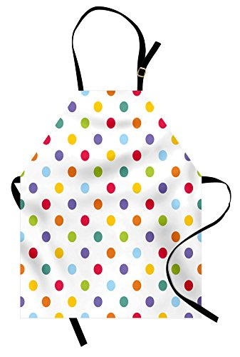 Ambesonne Kids Apron, Vintage Polka Dots in Pastel Colors on Blank Background Cheerful Desing Illustration, Unisex Kitchen Bib Apron with Adjustable Neck for Cooking Baking Gardening, Multicolor
