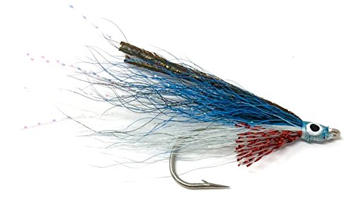 (Feeder Creek Fly Fishing Saltwater Flies - LEFTY'S Deceiver Streamer ASSORTMENTS - One Dozen Wet Flies - 4 Size Assortment 2/0, 1/0, 2, 4 (3 of Each Size) (Blue and White))