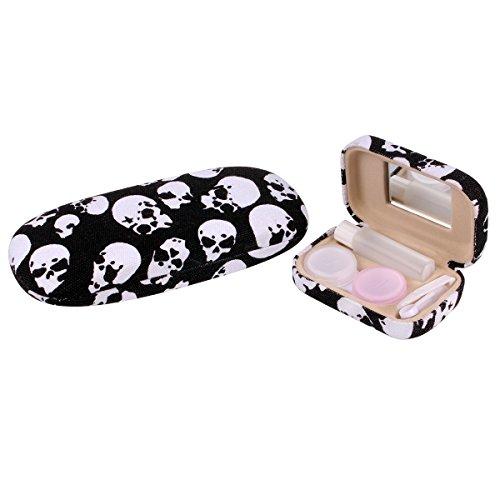 About Contact Lenses (Ezeso Eyeglasses Case Skull Print Reading Glasses Hard Shell Contact Lens Case Box Set (Skull, Black))